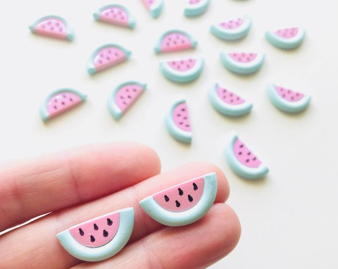 Watermelon Scented Earrings with Stainless Steel Studs - Pastel Treats you can wear!
