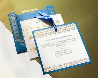 Bar Mitzvah BatMitzvah Invitation Luxury Gold Foil Pressed
