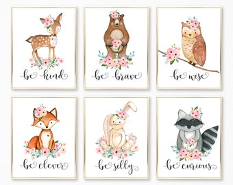Be Kind, Be Brave, Be Clever, Be Curious, Be Silly, Be Wise, Pink Peach and Mint Nursery Wall Art. Woodland Girl Nursery. Baby Decor.