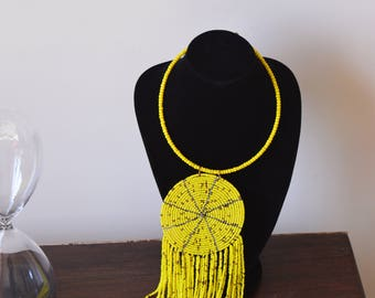 African Maasai Beaded Necklace | Yellow Beaded Necklace | Multistrands Necklace | Tribal Jewerly | Gift For Her