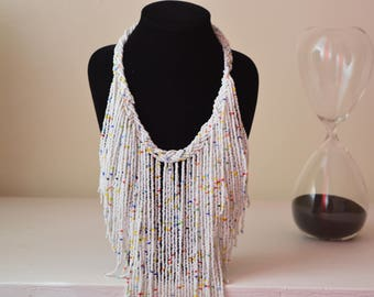 African Maasai Beaded Necklace | White Fringe Necklace | African Jewelry | Tribal Necklace |Unique Necklace |One size fits all |Gift for Her