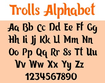 Trolls font svg, trolls svg, svg files, dxf, cricut, silhouette cutting file, instant download