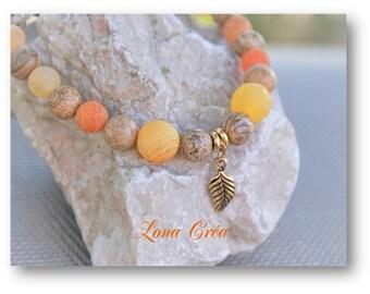 Bracelet Jasper gem stones, Agate, Magnesite, gold plated leaf charm, gem pearl bracelet