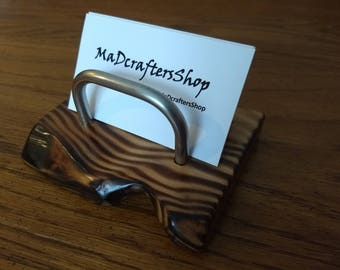 reclaimed flame treated wood and steel rustic desktop business card holder