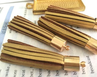 Set of 50 or 100pieces Gold suede leather gold metal caps ear tassel --for length 65mm
