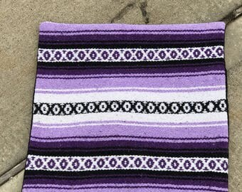 "20""x20"" pillow cover made from vintage Mexican blanket in purple, lavender, black and white"