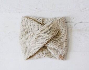 Knitted Turban, Knit Turban Headband, Twisted Headband, Knitted Headband, Knit Headband, Knitted Earwarmer • IN LINEN •