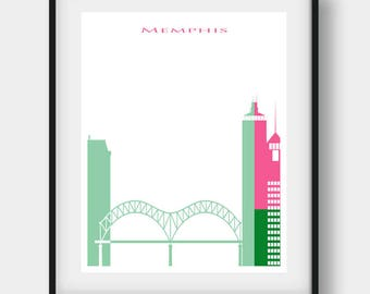 Memphis Print, Memphis Skyline, Memphis Tennessee, Memphis Art, Memphis Poster, Memphis Decor, Memphis Wall Art, Office Art, Home Decor