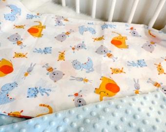 Minky Baby Boy Blanket -Elephant Minky Blanket - Receiving Blanket- Car Seat Blanket - Dinosaur Baby Minky Blanket - Travel Blanket