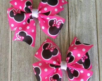 Minnie Mouse inspired hair bow, red mouse hair bow, pink mouse bow, character headband, baby hair bow, polka dot hair bow