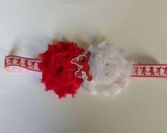 Elmo inspired headband, red puppet baby headband, character headband, shabby flower headband, infant headband, baby shower gift