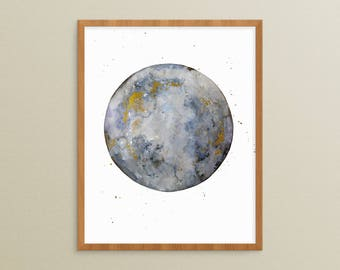 Full Moon - Moon Print Art - Moon Print Nursery - Moon Watercolor - Painted Moon - Moon Illustration - Full Moon Print - Moon Magic