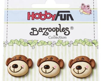 3 novelty rsine scrapbooking Teddy bear buttons