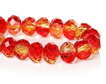 10 glass Crackle 8 mm red yellow gold faceted beads