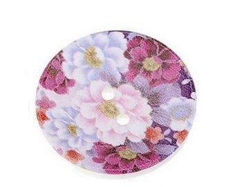 2 round buttons, sewing, scrapbooking flowers MAUVE 4 cm