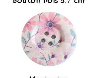 2 buttons wood/sewing/scrapbooking 3.7 cm PASTEL pink flower