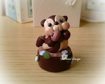 Squirrel cake topper, Forest animals, polymer clay cake topper, baby shower topper, birthday topper, animals cake topper, woodland animals