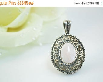 HUGE Sale Scroll Detailed Pink Mother Of Pearl Pendant Sterling Silver 7.7g