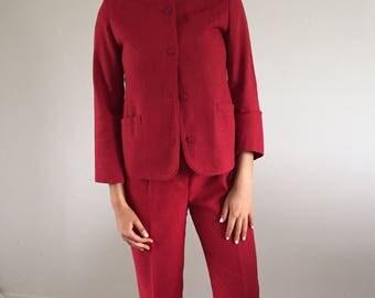 Vintage 80s Brick Red Pants Suit / 1980s Minimalist Jantzen Linen Suit