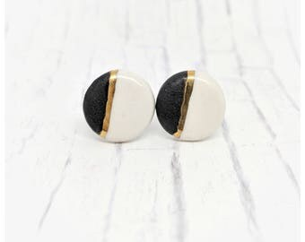 Porcelain earrings black earrings gold studs black and gold earrings black studs Valentine's gift jewelry gift nickel free earrings