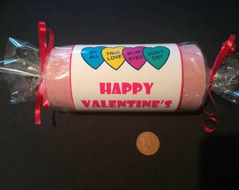 Valentine's Day Love Heart Bath Bombs - Strawberry Laces Scent