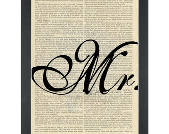 Wedding Mr Dictionary Art Print
