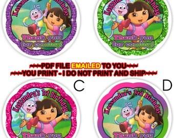 YOU PRINT-Dora the Explorer Birthday Thank you Sticker, Dora Candy Bag Gift Tags, Dora Cupcake Toppers, Dora The Explorer favor tag-BIRTHF18