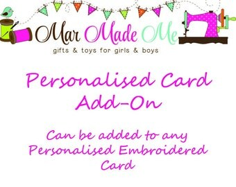 Daughter, Granddaughter, Goddaughter, Niece, Son, Grandson, Godson, Nephew, Personalised Card, Personalisd Embroidered Card