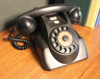 A Vintage Matt Black Bakelite PTT Telephone c1950, Holland
