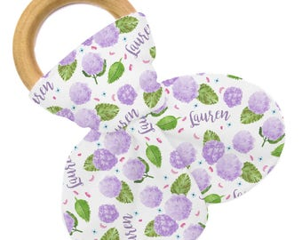 Personalized Teether - Happy Hydrangea