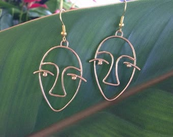 Picasso Face Wire Earrings