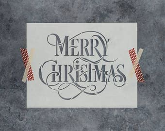 Merry Christmas Stencil - Reusable DIY Stencil of Merry Christmas Words - Durable Stencil for Christmas Crafts Shipped FAST!