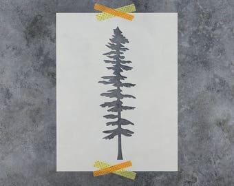 Tall Fir Tree Stencil - Reusable DIY Craft Stencils of Fir Tree