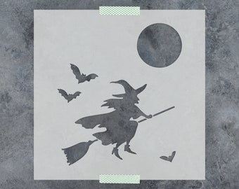Witch Stencil - Reusable DIY Craft Stencils of a Witch Riding a Broom