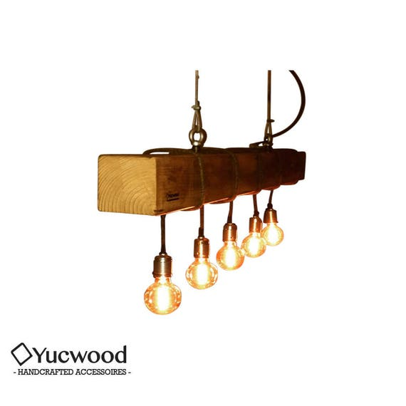 "Edison pendant lamp, ""Douglas"", wood lighting, Bar lighting, industrial, minimalist lamp, Loft, (includes 5 Led filaments)"