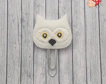 Owl Planner clip, felt Paper clip, office supplies, organiser accessory, planner, embroidered, paperwork, paperclip, study, gift