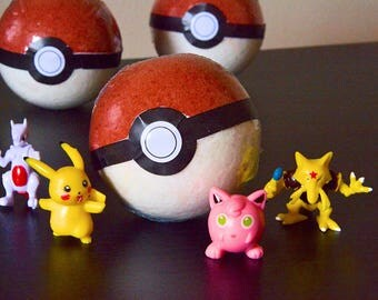 4 FOUR Pokemon/Pokeball Bath Bombs (Toy Inside!) Kids Bathtime Fun!