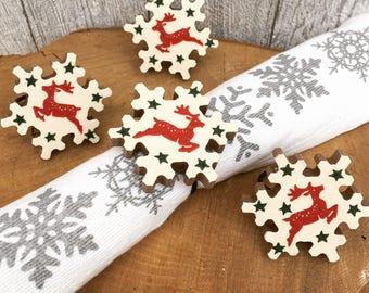 Handmade Emma Bridgewater Reindeer Design Snowflake Napkin Rings- Christmas
