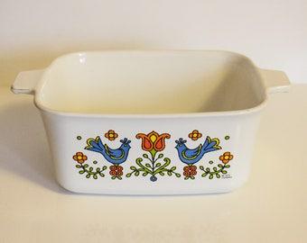 Corning Ware Country Festival Blue Bird Loaf Baking Pan ~ Vintage Corningware ~  Blue Birds Flowers and Vines ~ 7.5 X 5.5 Retro Baking Pan