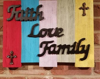 Faith, Love, Family wood sign-rustic-cross