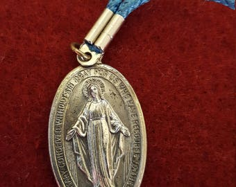 Vintage Religious Oval Medal, O Mary Conceived Without Sin 1830, Cord Necklace, Pendant, Italy