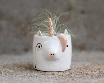 Unicorn Monomal (unicorn planter, animal planter, monocle planter, unicorn decoration, cute pot, air plant, birthday gift, engagement gift)