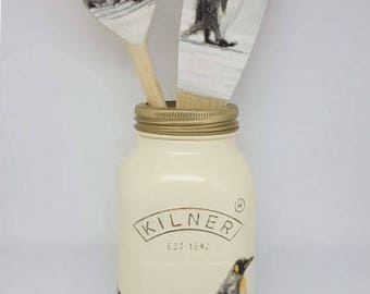 Penguins, hand painted, Decoupaged Shabby Chic 1 ltr Kilner Jar, matching wooden spoon & spatula /Kitchen Decor/Christmas Gift/Home Decor