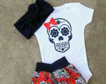 Baby girl coming home outfit, toddler girl outfit,sugar skull baby, sugar skull outfit,day of the dead outfit,sugar skulls,baby girl,girl