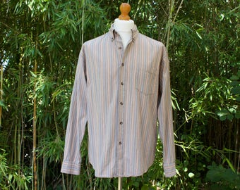 Vintage Long Sleeved Striped Button Down Collar Shirt  Size - Large