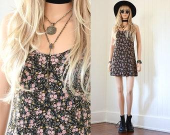 90s Floral Dress 90s Grunge Dress Floral Mini Dress Slip Dress 90s Dress Floral Dress Vintage 90s Clothing Boho Vintage Floral Dress XS