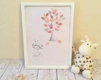 Nursery Picture/Print/Drawing Handmade - Baby Girl Tortoise. Can be Personalised. White or Wooden Frame