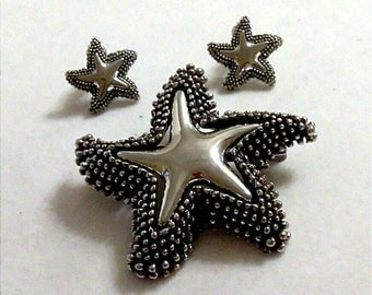 VINTAGE Silver and Black Star Brooch and Earring Demi Parure, Starfish Brooch and Earrings, Accessories, Fashion Jewelry, Boutique