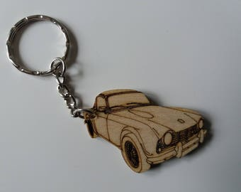 Triumph TR4 Keyring  Etched detail wooden