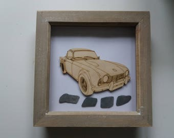 Triumph TR4 Picture -  Etched wood Triumph TR4  with Sea Slate in distressed wood frame